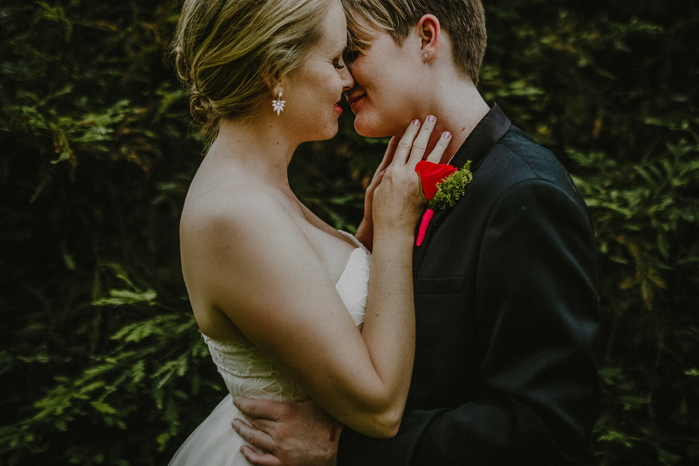 san diego wedding   photographer | woman about to kiss woman in coat