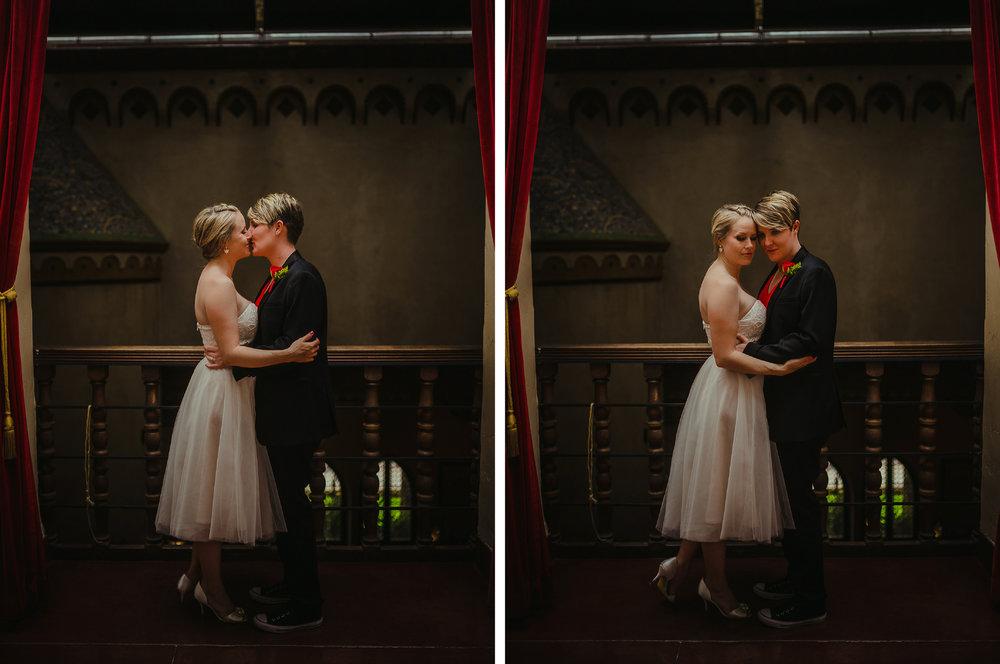 san diego wedding   photographer | collage of women kissing near railing