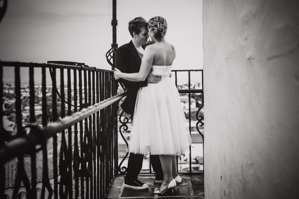 san diego wedding   photographer | monotone shot of women standing against railing
