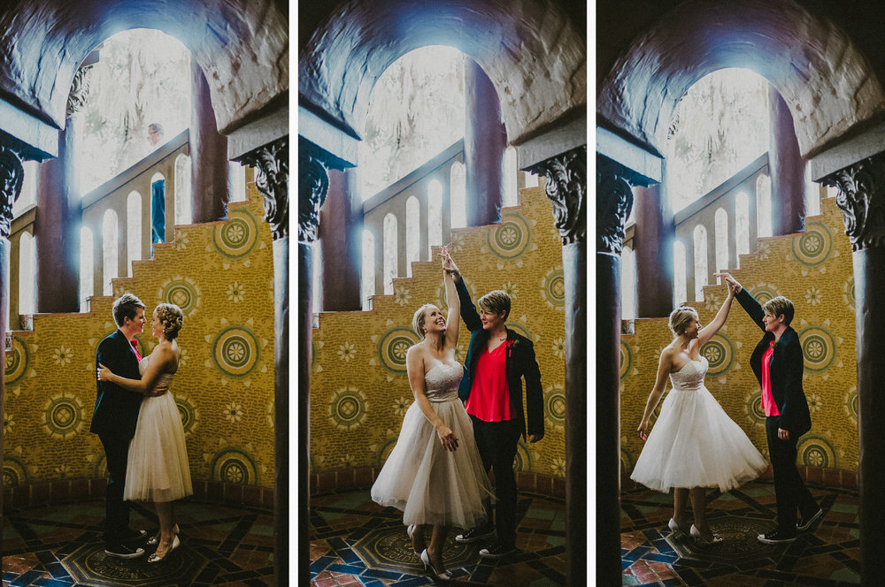 san diego wedding   photographer | collage of women dancing near stairs