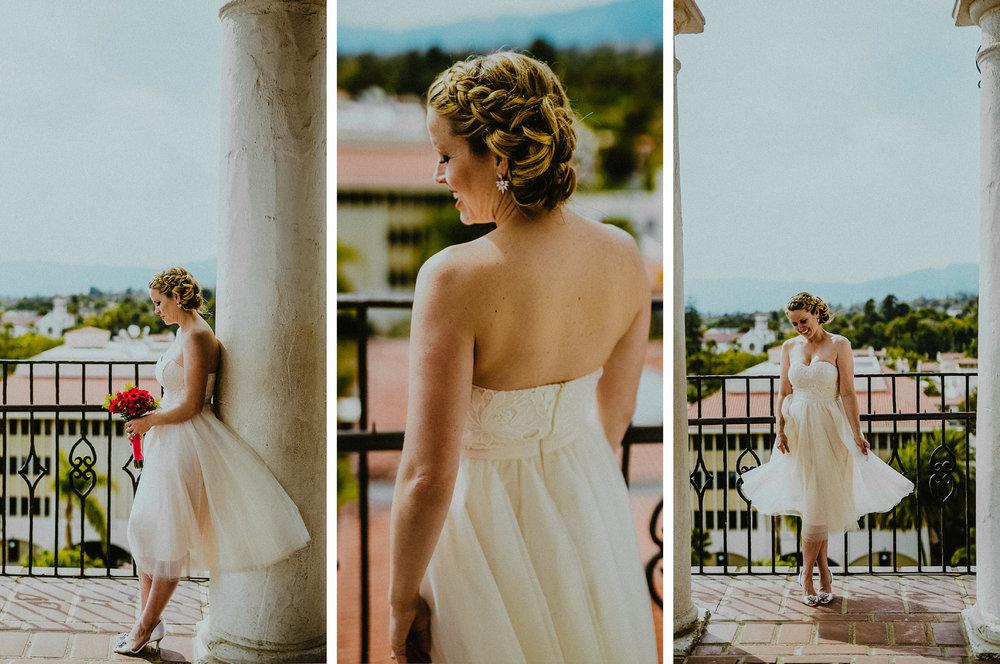 san diego wedding   photographer | collage of woman in white dress posing near railing