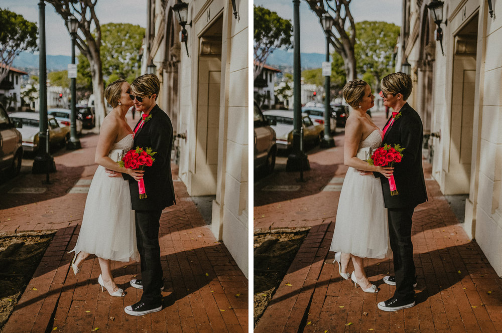 san diego wedding   photographer | collage of woman kissing woman in shades' cheek