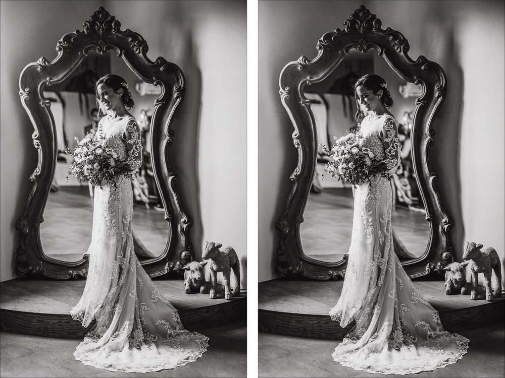 san diego wedding   photographer | black and white collage of woman in wedding dress holding   bouquet of flowers standing in front of mirror