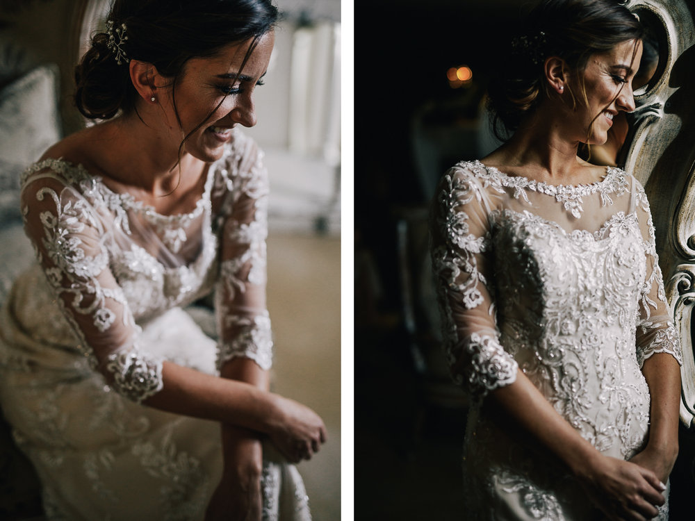 san diego wedding   photographer | collage of woman in wedding dress sitting down and standing up   looking to her side