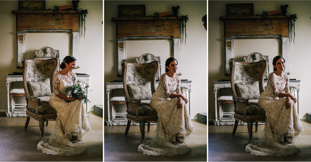 san diego wedding   photographer | collage of woman in white dress smiling while sitting down on   floral chair