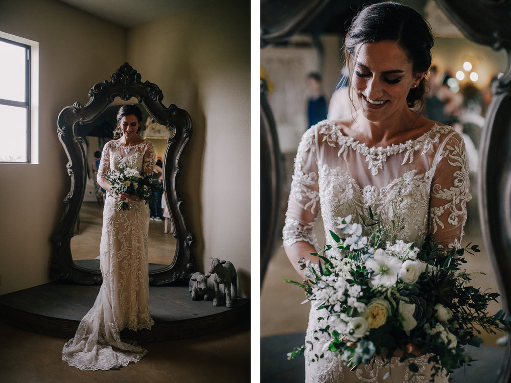 san diego wedding   photographer | collage of bride in white wedding dress smiling holding   bouquet of flowers in front of mirror