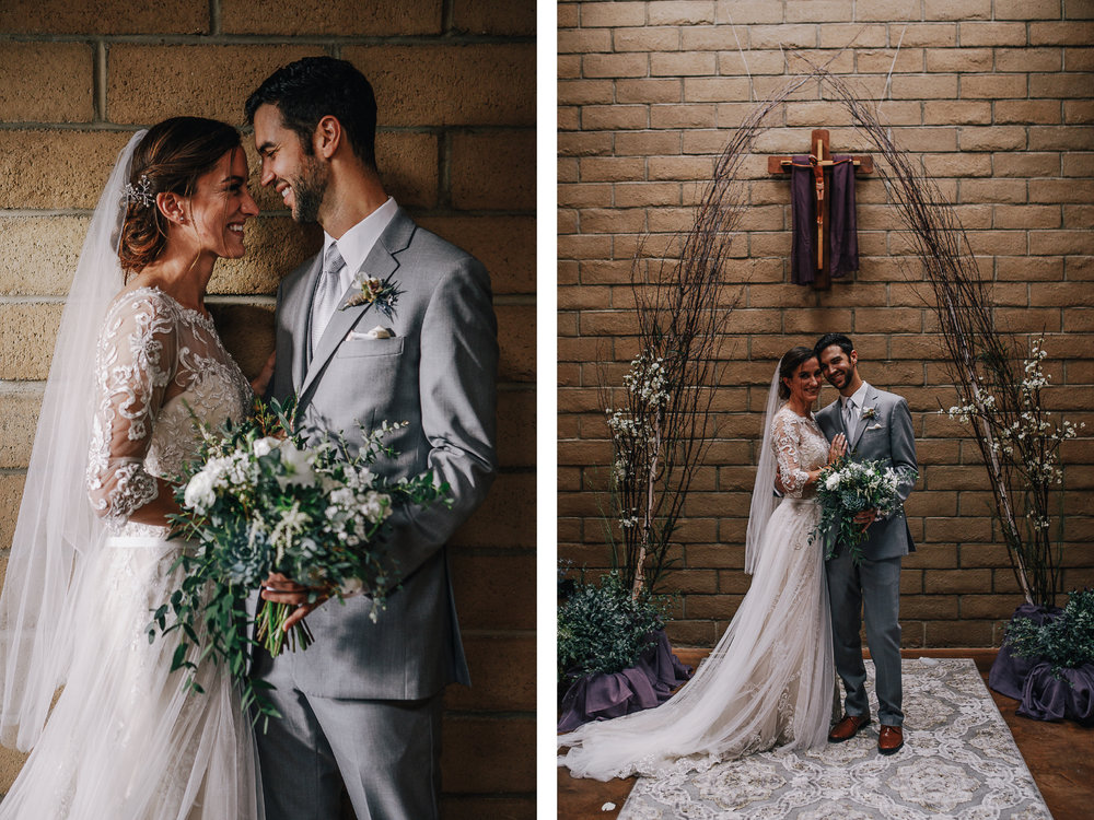 san diego wedding   photographer | collage of bride and groom holding bouquet of flowers under   crucifix