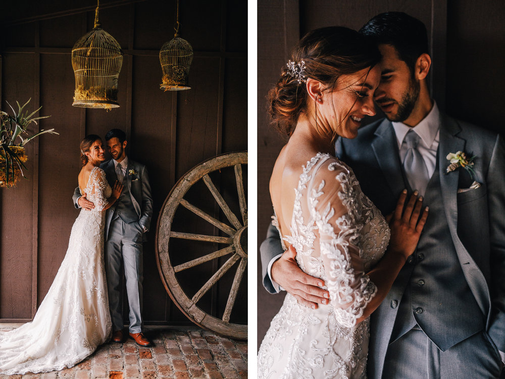 san diego wedding   photographer | collage of bride and groom standing under birdcages