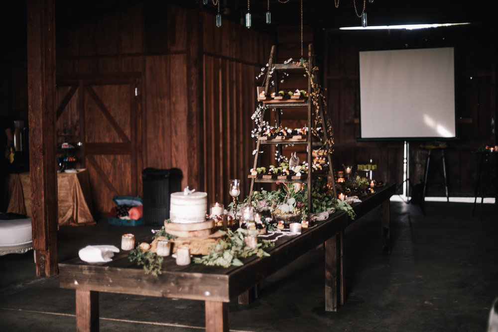 san diego wedding   photographer | table full of desserts in front of a screen