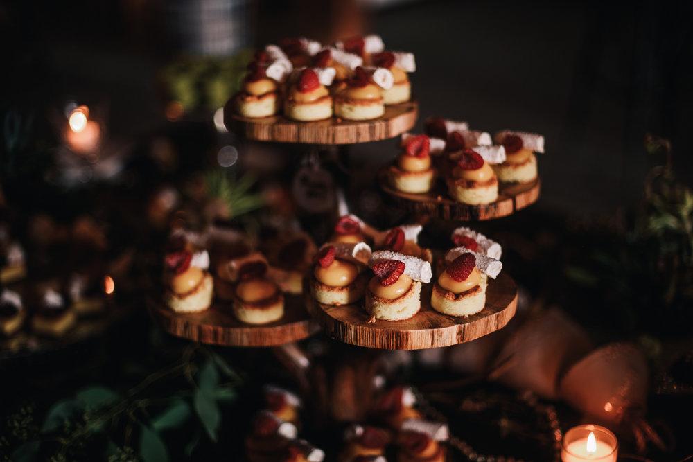 san diego wedding   photographer | strawberry shortcakes on several wooden platforms