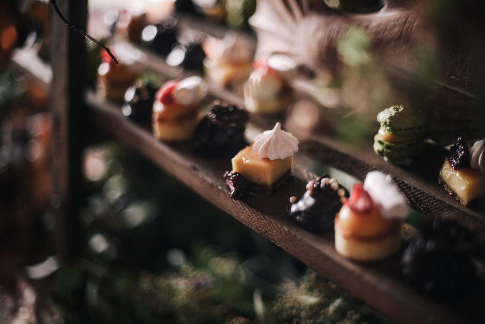san diego wedding   photographer | assortment of desserts on wooden platform