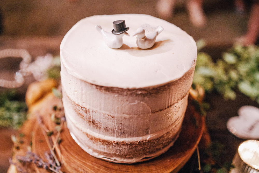 san diego wedding   photographer | top view of white cake with pigeon toppers