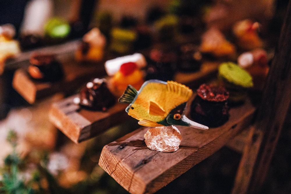 san diego wedding   photographer | fish decoration beside platter of assortment of desserts