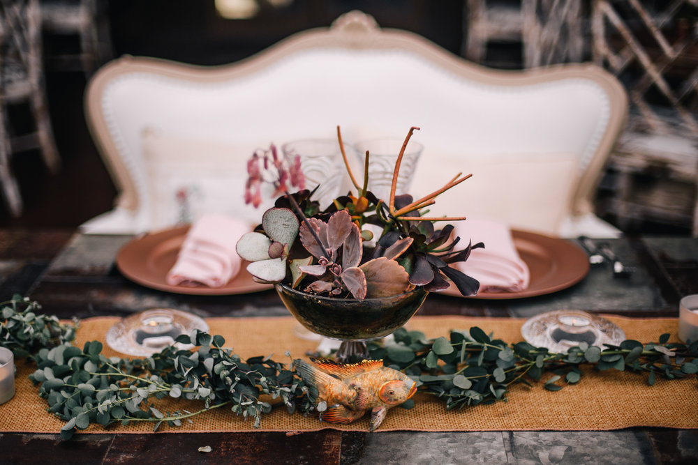 san diego wedding   photographer | table filled with assortments of leaves and plants