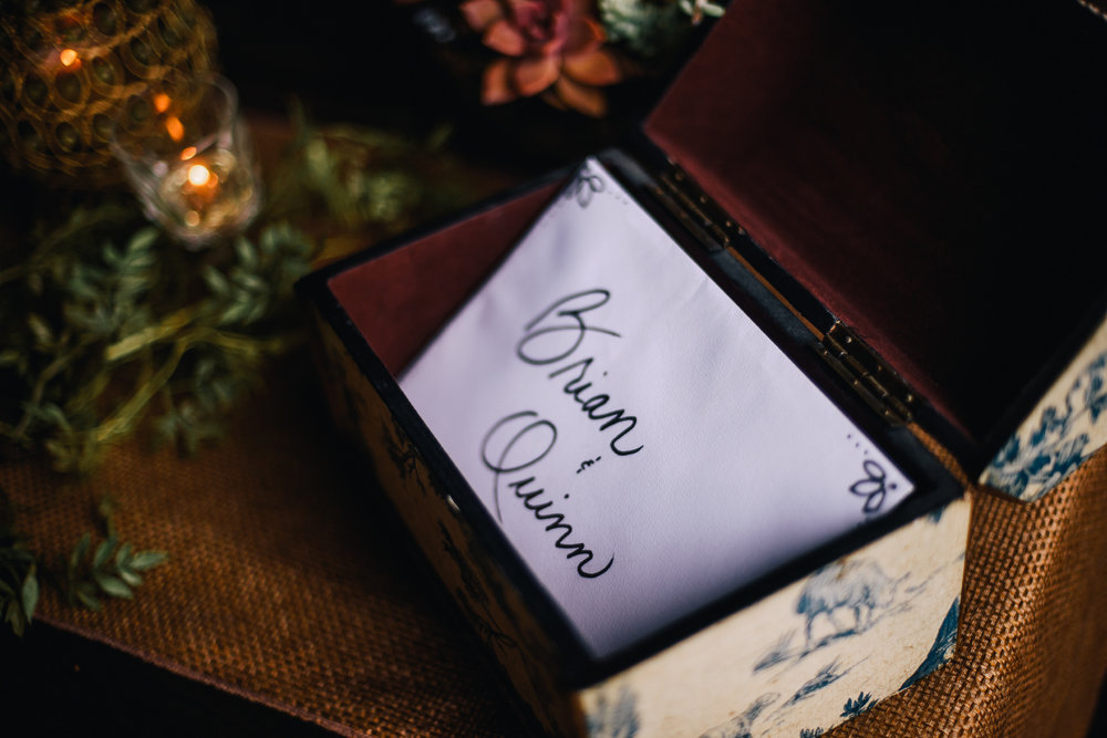 san diego wedding   photographer | small box designed with blue florals patterns with a letter   inside it