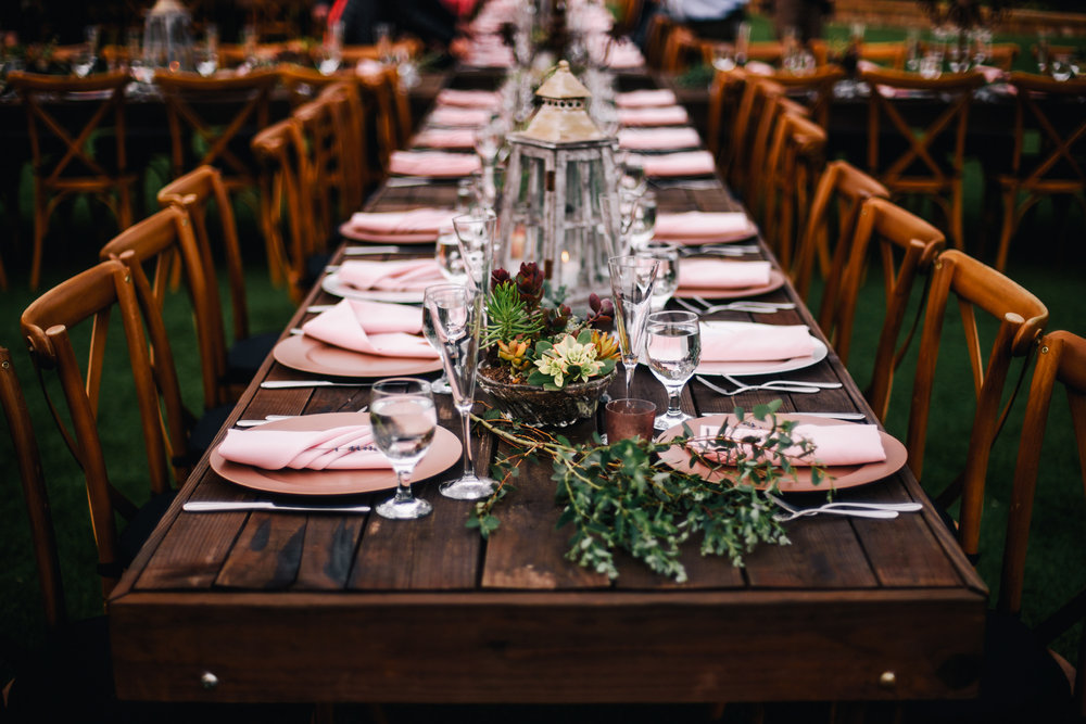 san diego wedding   photographer | view of long table with plates and silverware arrangement