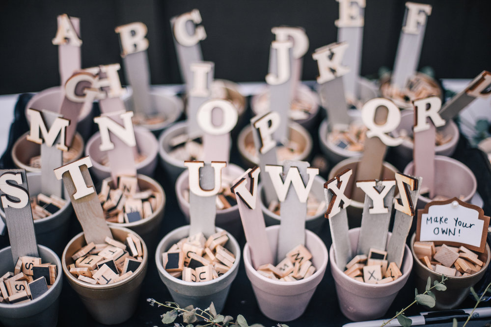 san diego wedding   photographer | planters with scrabble letters inside