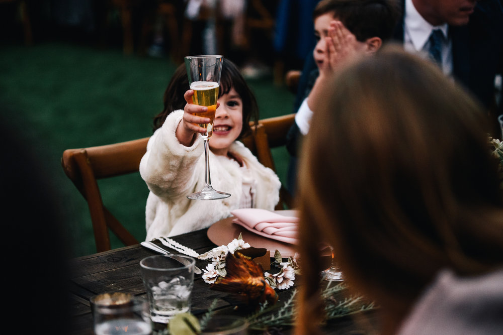 san diego wedding   photographer | child raising a glass on dinner table