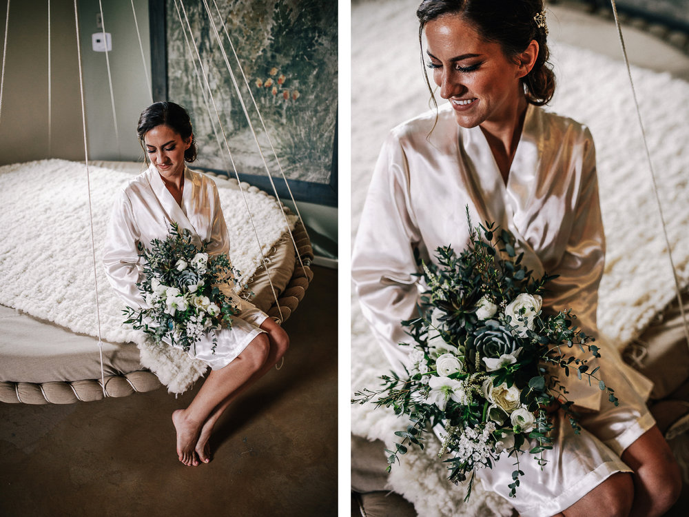 san diego wedding   photographer | collage of woman in white robe sitting on a suspended bed   holding bouquet of flowers