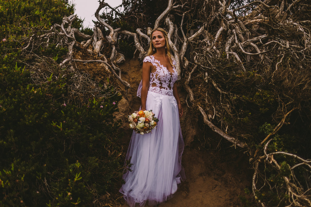 san diego wedding   photographer | bride in wedding dress holding bouquet standing near uprooted   tree