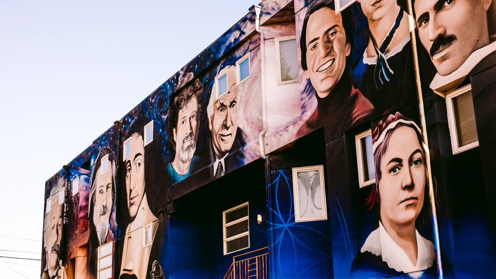 san diego wedding   photographer | mural of people painted on a wall