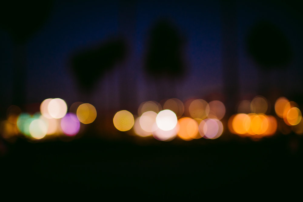 san diego wedding   photographer | out of focus shot of city lights and palm trees