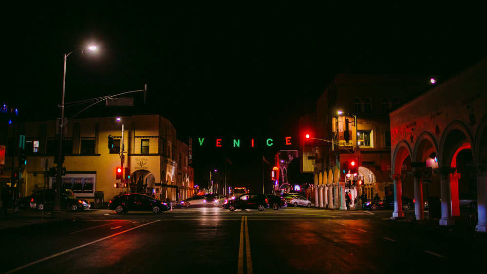 san diego wedding   photographer | view of street with the word venice hanging on a line in the   middle