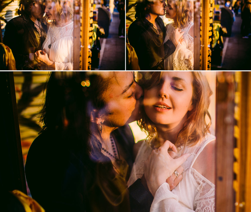 san diego wedding   photographer | collage of man in black coat about to kiss woman behind store   glass window