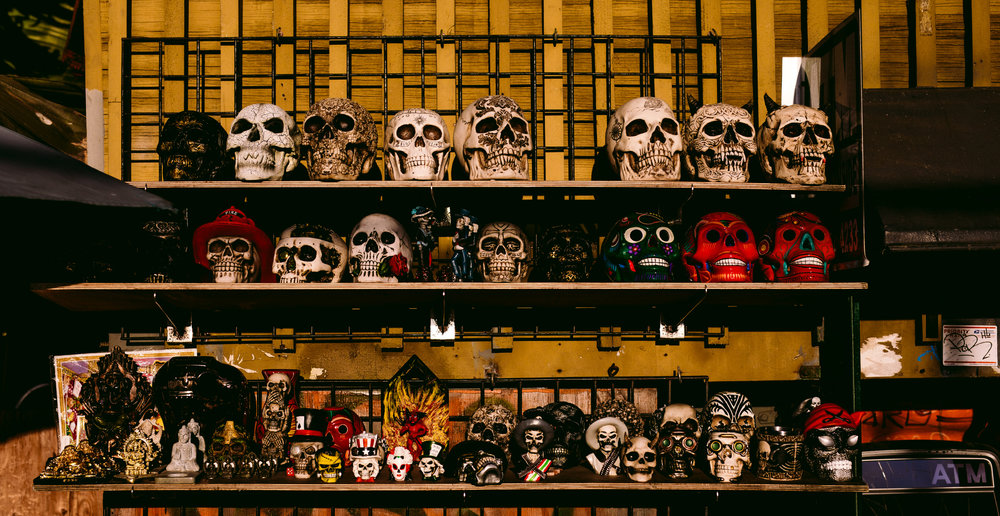 san diego wedding   photographer | picture of display of decorated skulls