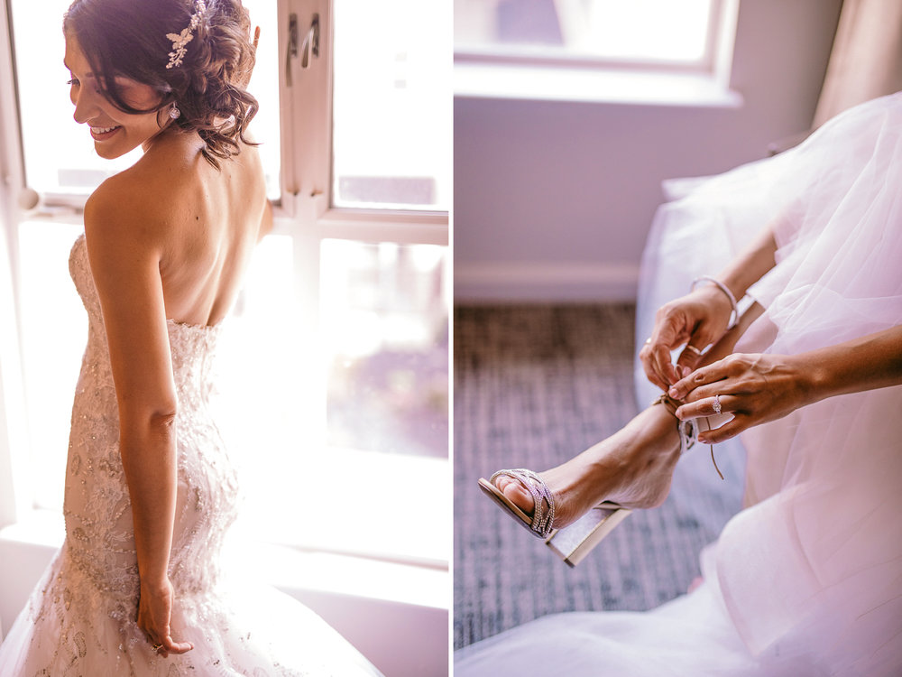 san diego wedding   photographer | collage of woman in wedding dress and with her putting on her   heels