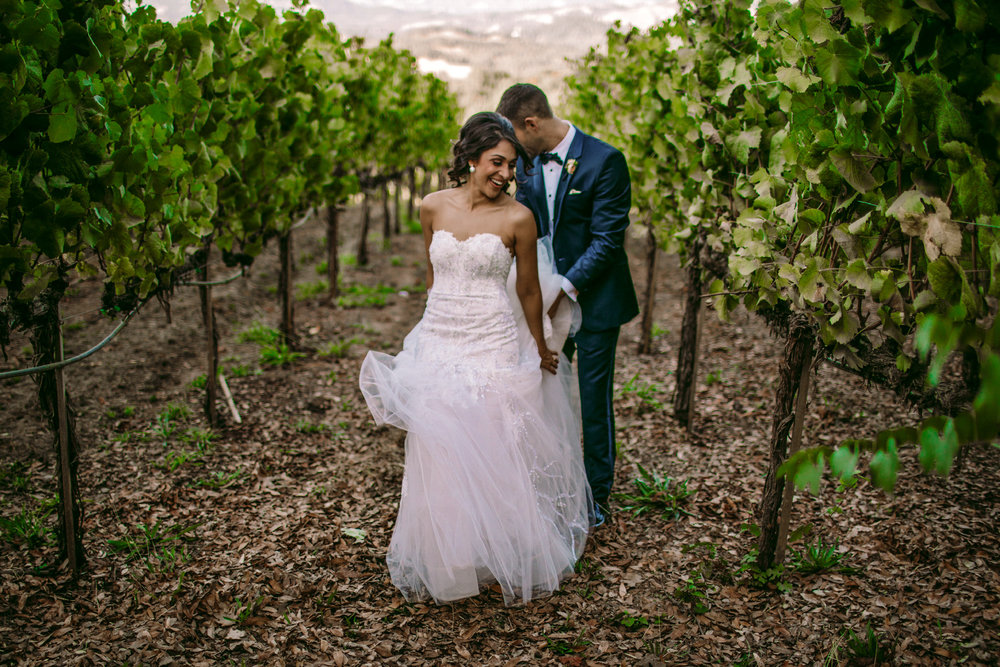 san diego wedding   photographer | groom holding bride's dress from behind while they stand in   between rows of plantation