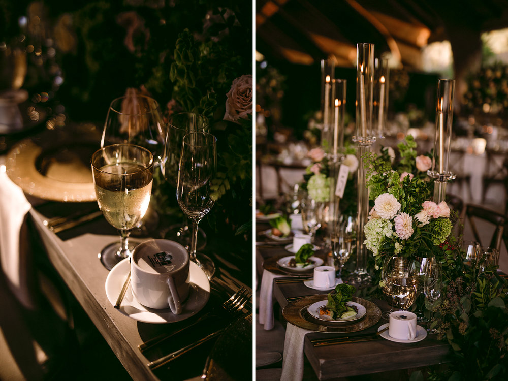 san diego wedding   photographer | collage of table arrangement with glass filled with champagne   in low light setting