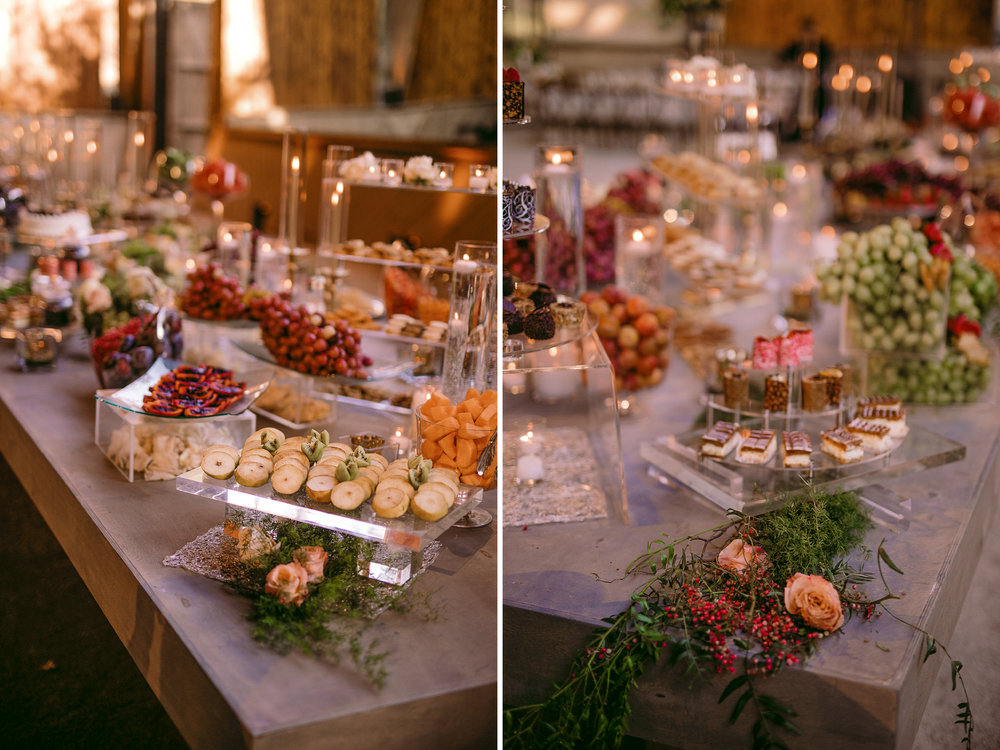 san diego wedding   photographer | collage of dessert table filled with fruits and sweets