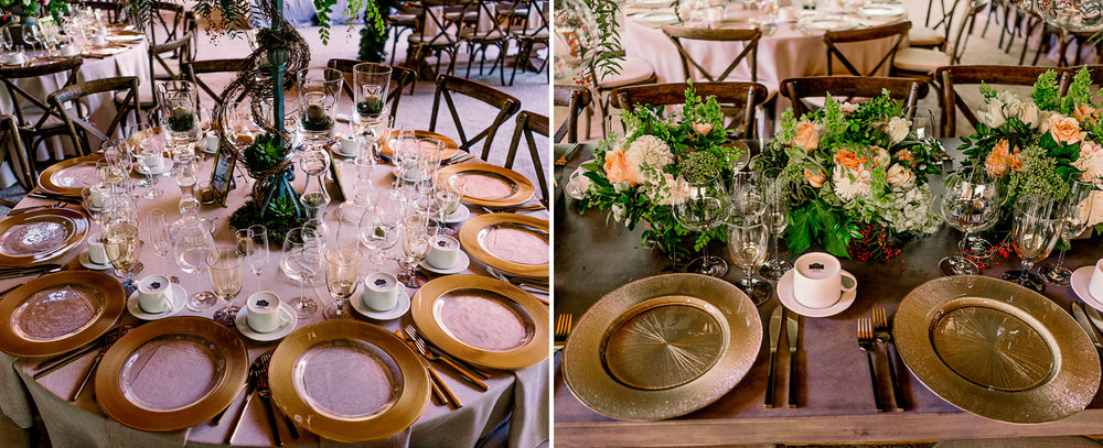 san diego wedding   photographer | table arrangement of plating with flower arrangement