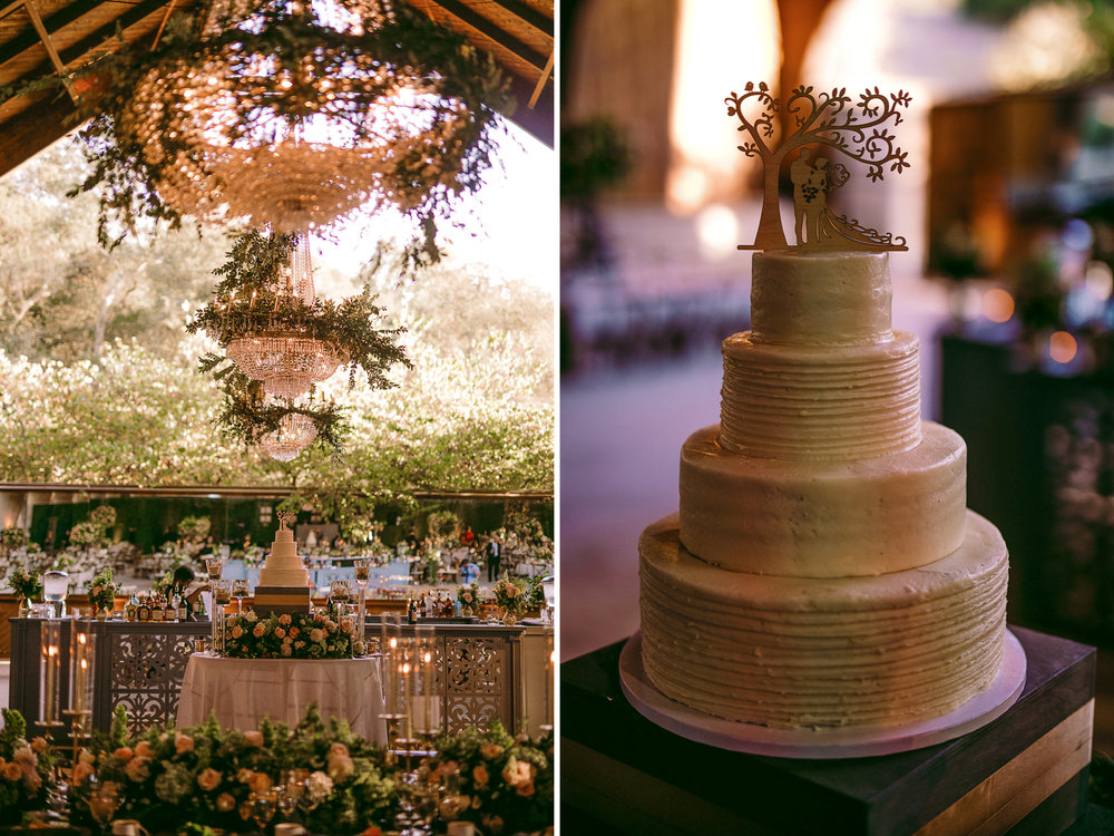 san diego wedding   photographer | collage of wedding cake surrounded with pink flowers