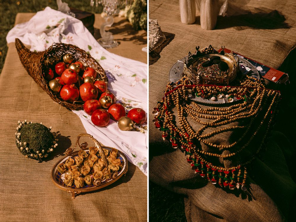 san diego wedding   photographer | collage of cornucopia and crown with beaded necklace