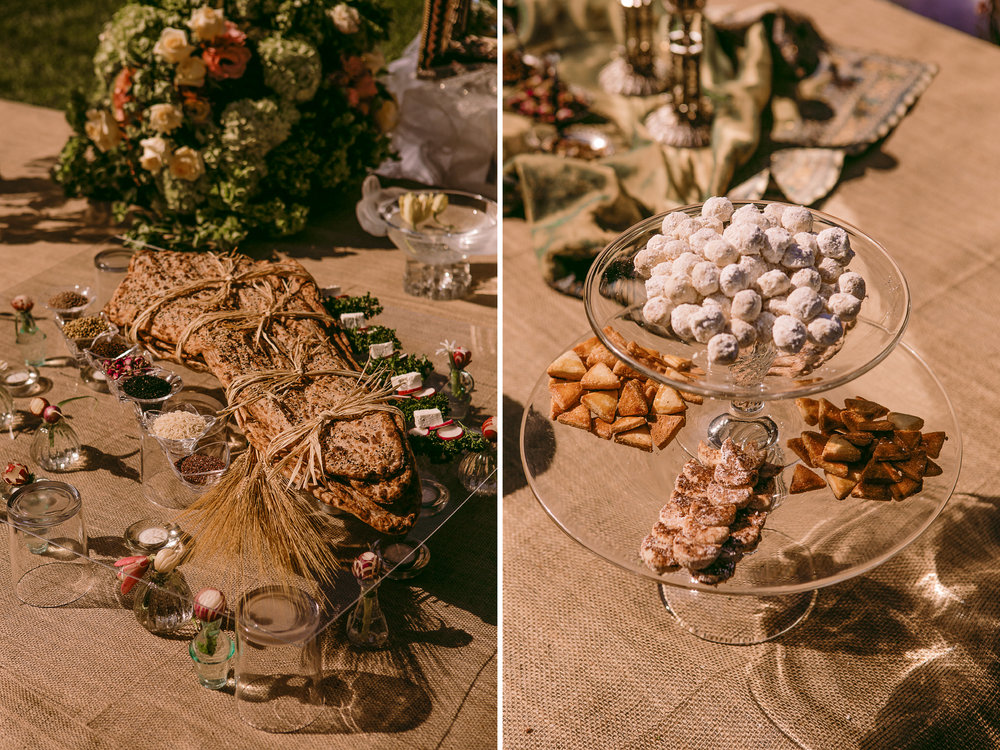 san diego wedding   photographer | collage of table set-up with wood tied in twine and various   small snacks