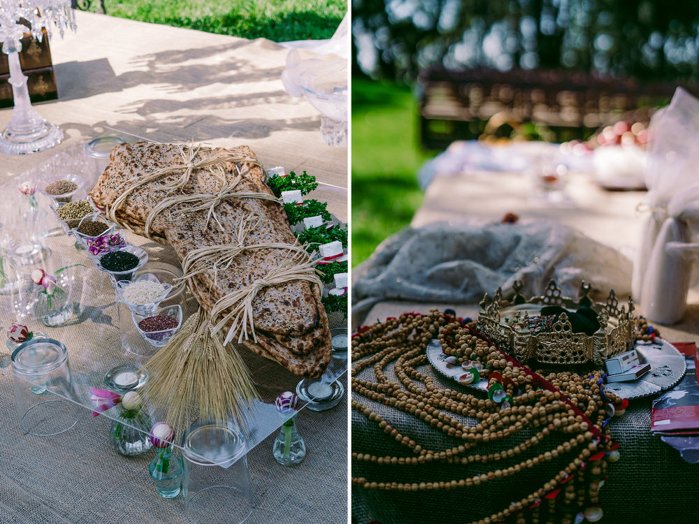 san diego wedding   photographer | collage of table set-up with wood tied in twine and crown with   beaded necklace