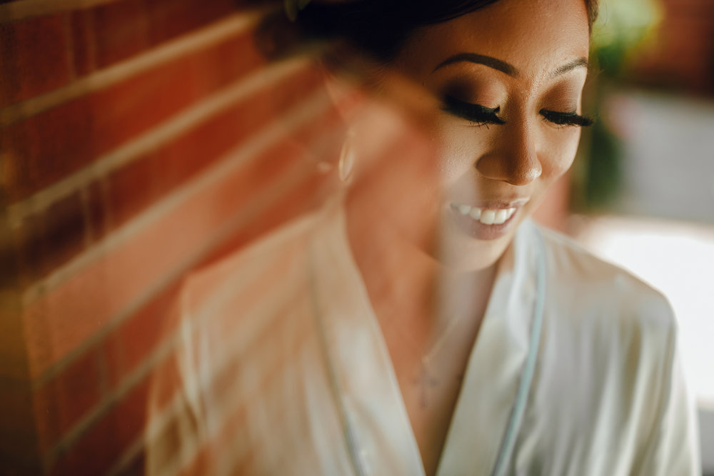 San Diego Wedding Photographer | bride's head shot during getting ready