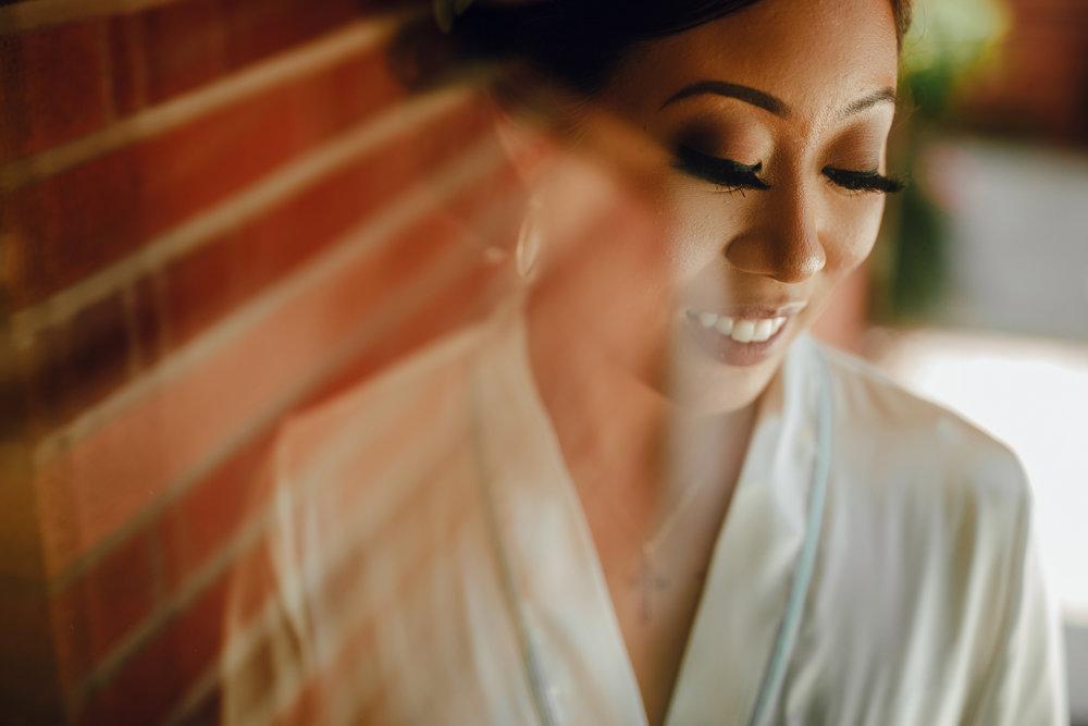 San Diego Wedding Photographer | bride's head shot during getting ready