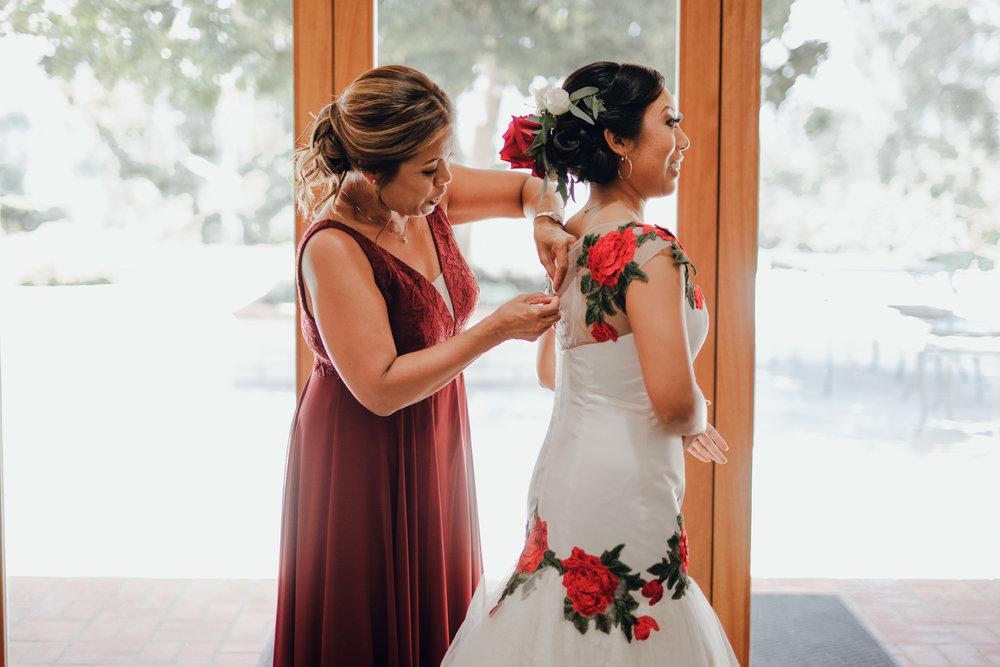 San Diego Wedding Photographer | bride getting ready with her mom