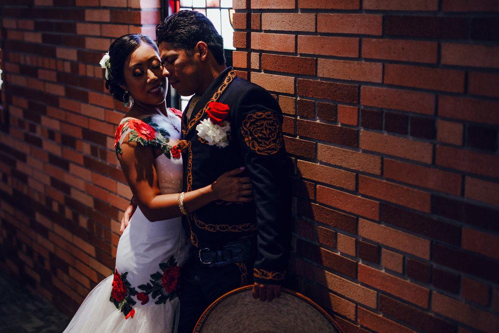 San Diego Wedding Photographer | bride and groom posing inside of Torrey pines church