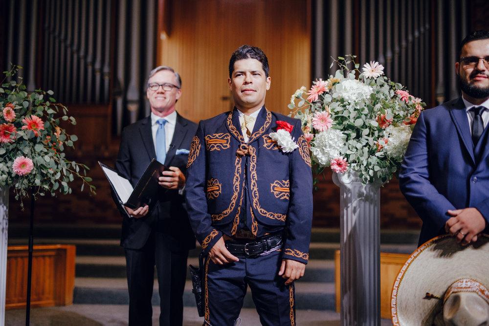 San Diego Wedding Photographer | groom's reaction seeing the bride walk down the aisle