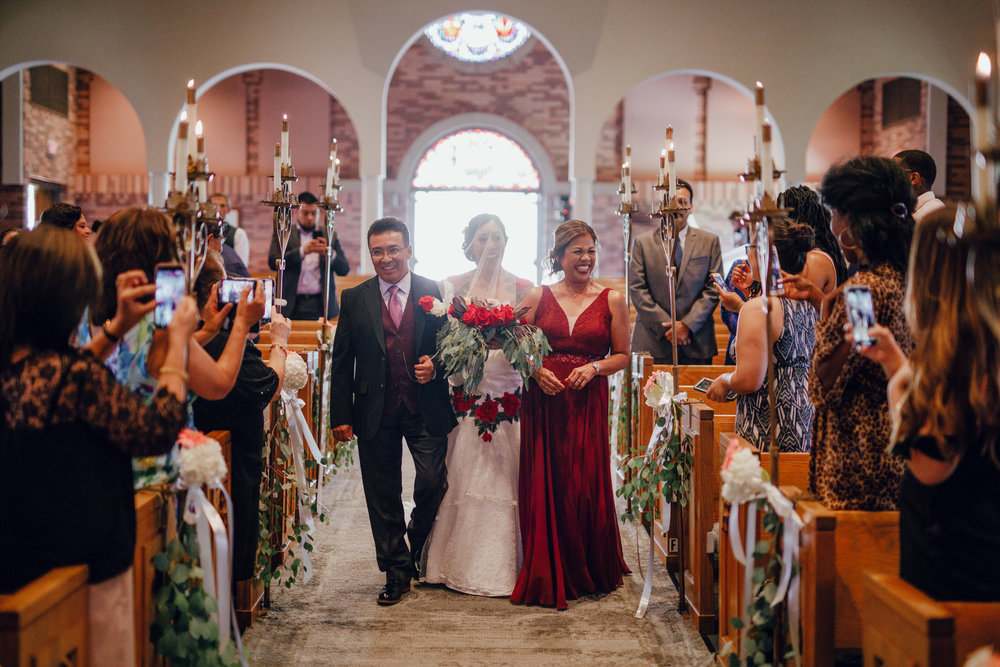 San Diego Wedding Photographer | bride walking down the aisle with parents