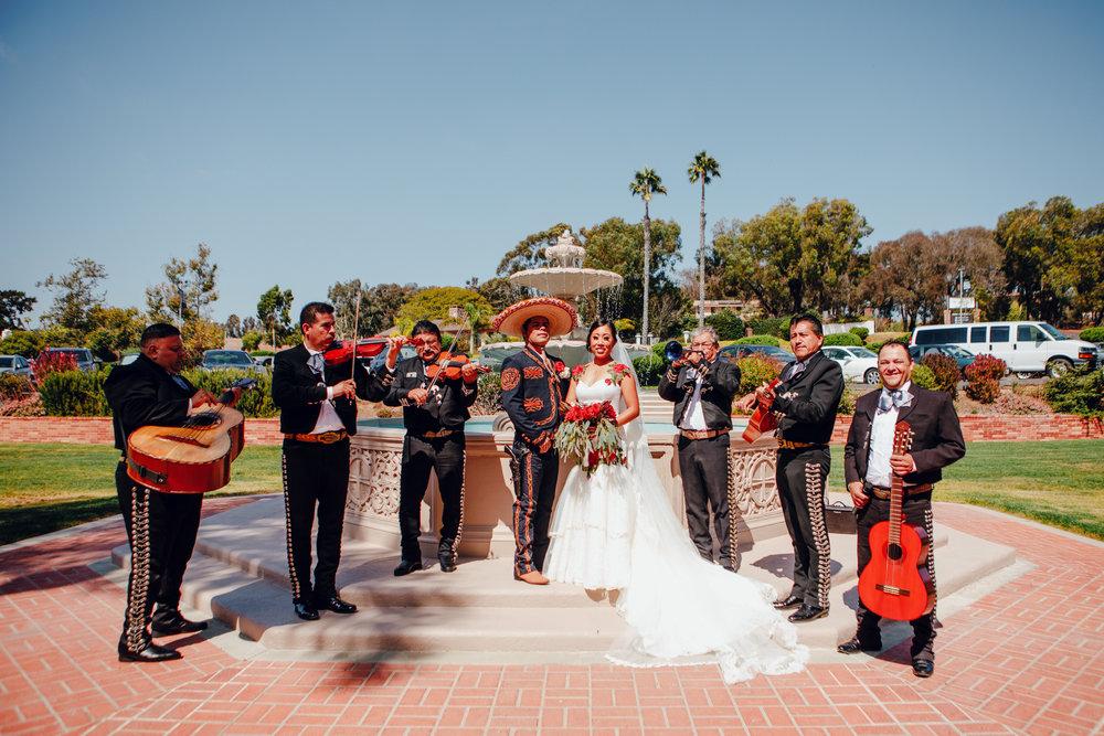 San Diego Wedding Photographer | wedding couple posing next to mariachi band