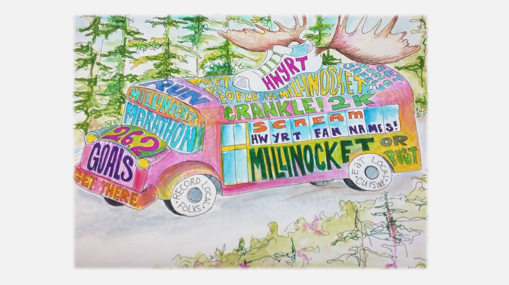 HWYRT Bus Millinocket 2016 by ABG, the Artist-in-Residence. Drawn and colored during the drive.
