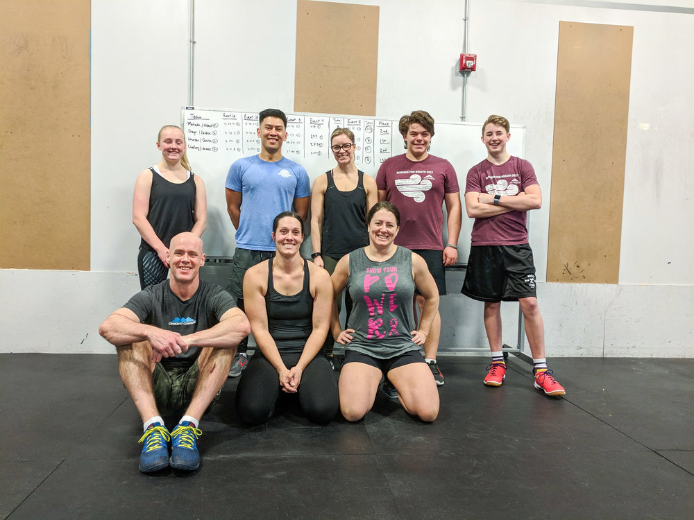 Congrats to everyone who competed in our Team Throwdown! The workouts were fun and challenging tests of fitness and team work. Can't wait to do it again. We will change the format to male pairs and female pairs so that we get more people to participate.