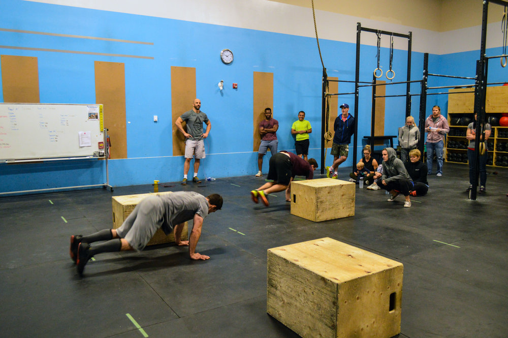 That time when Brandon and Curtis had to do 75 sec. max. burpees over the box in battle for 2nd at our in-house competition.