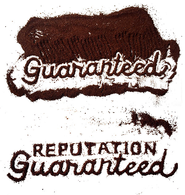 Process Shot: Creating the poster title out of coffee grounds.
