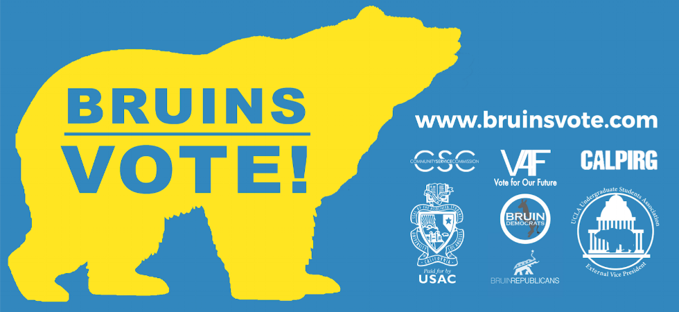 BruinsVOTE!, a nonpartisan coalition between Vote for Our Future, USAC External Vice President, CalPIRG, USAC Community Service Commission, Bruin Democrats, and Bruin Republicans.